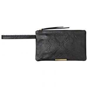 Et DAY Birger et Mikkelsen Logo Thread Leather Pochette, Black